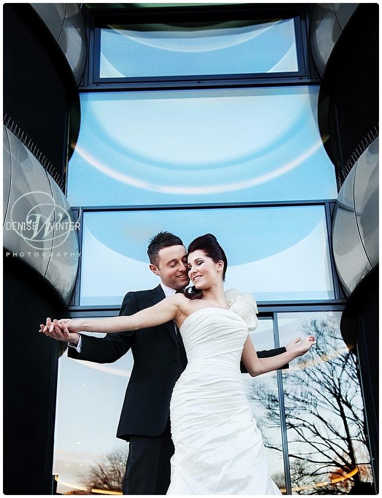 stylish wedding photograph taken outside the Aviator hotel in farnborough