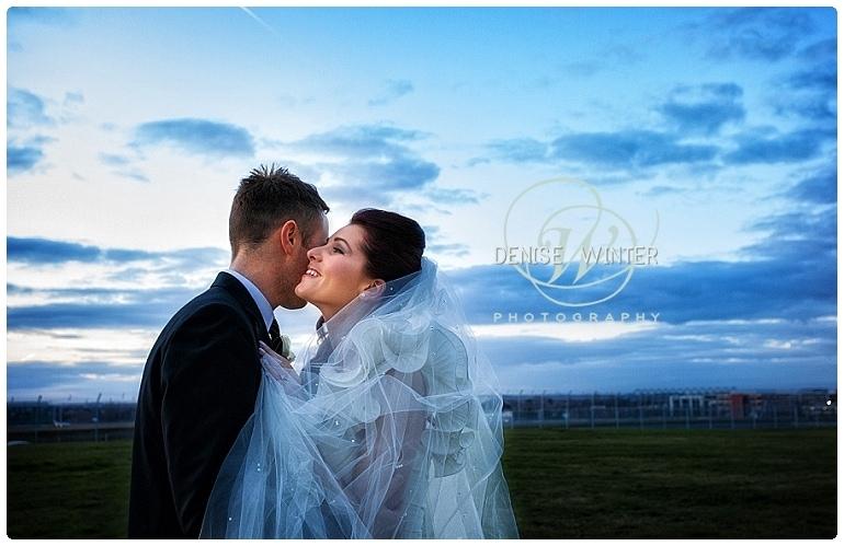 evening wedding photograph at the aviator hotel in farnborough