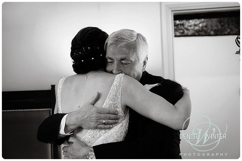 Bride seeing her dad on her wedding day