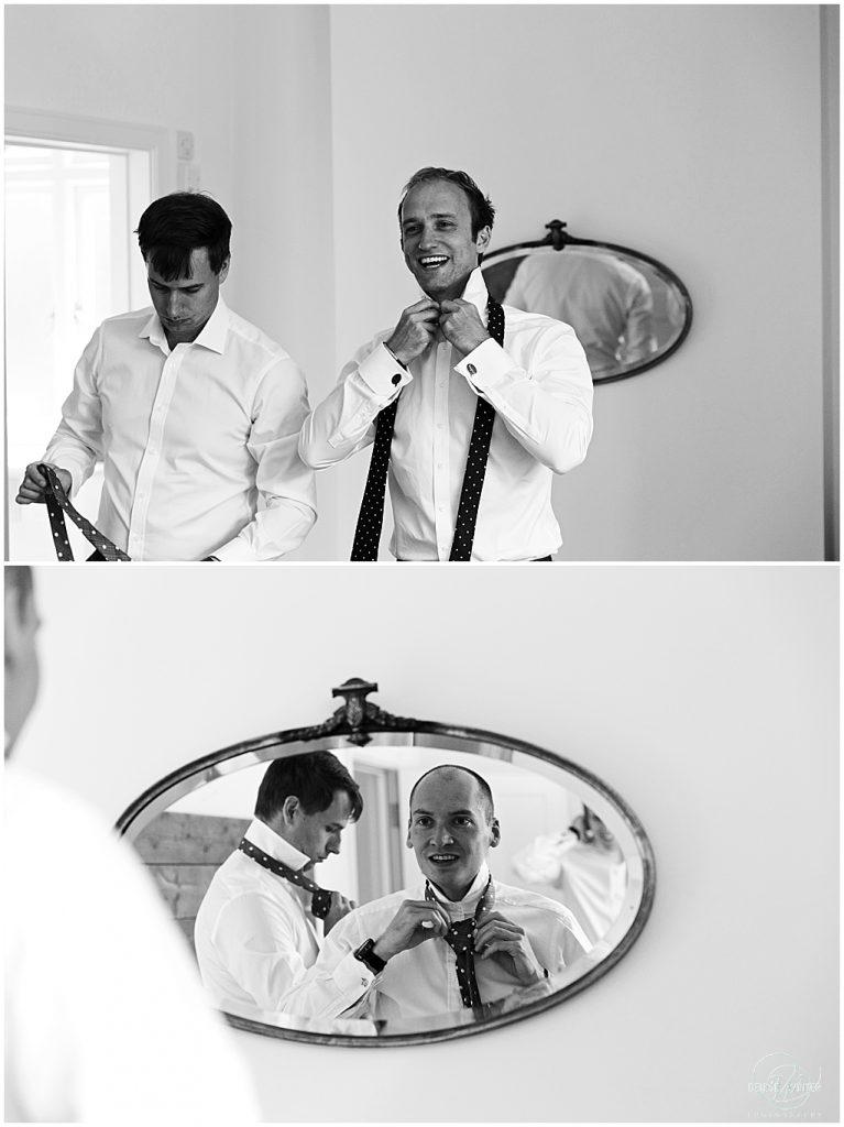 Groom getting ready for his wedding at Millbridge Court Wedding
