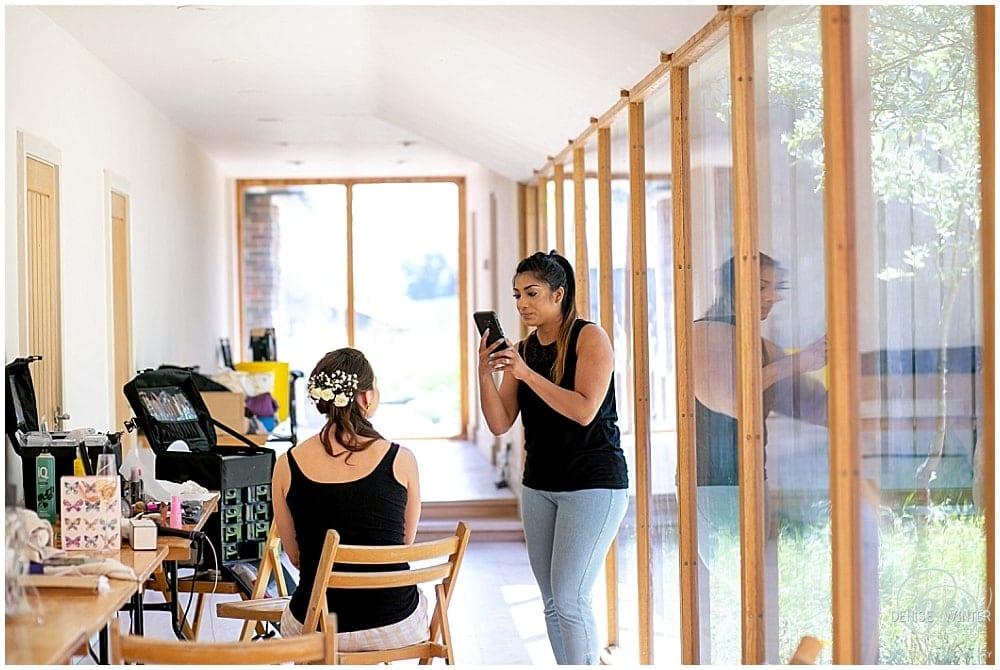Nisha Jassal MUA working her magic at Bury Court Barn