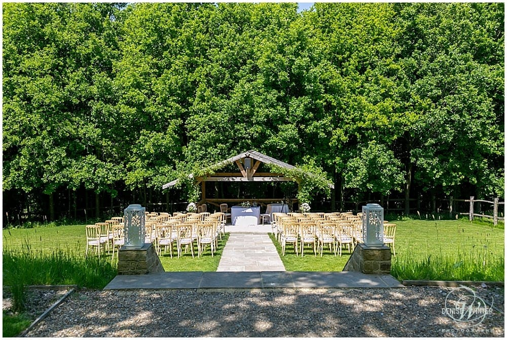 Outdoor ceremony area at Bury Court Barn