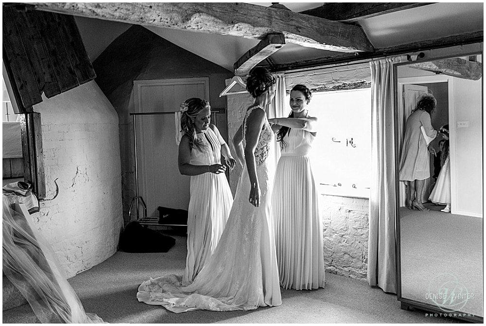 final bridal prep for a bride at bury court