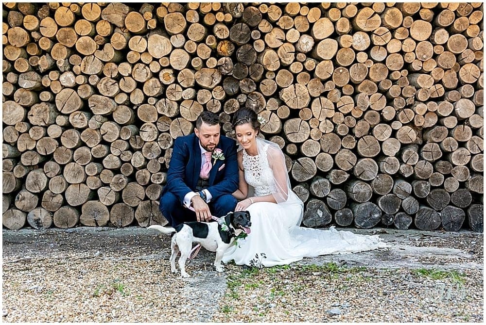 Bride and Groom and their dog Bury Court Wedding