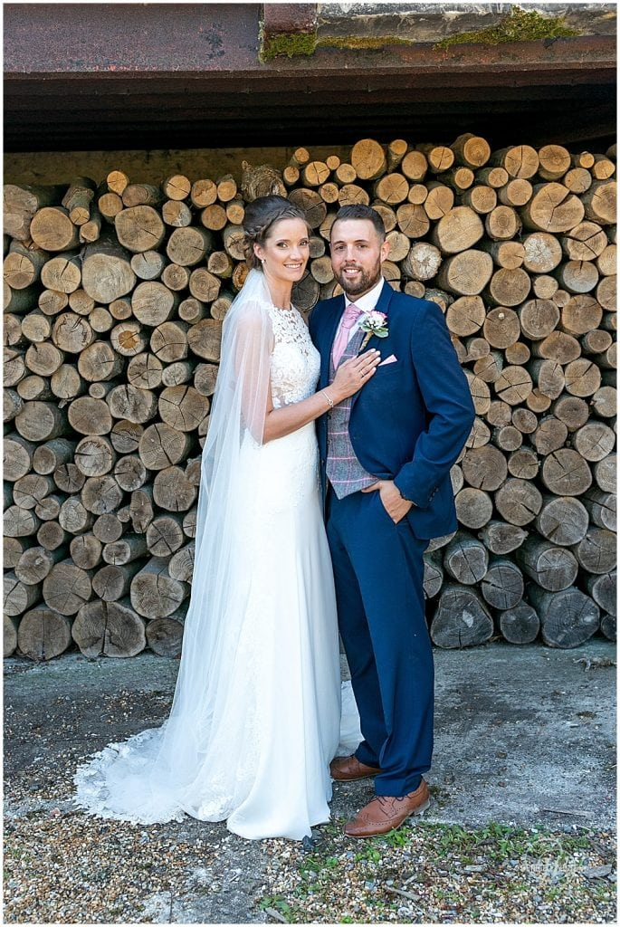 Bride and groom at Bury Court Wedding