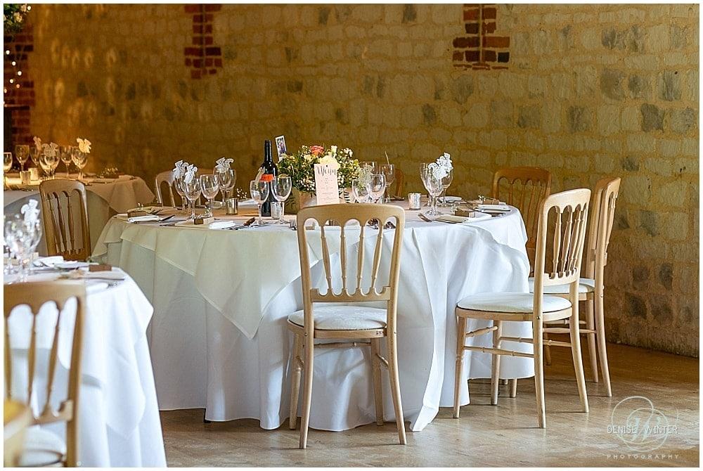 Bury Court  barn ready for a wedding