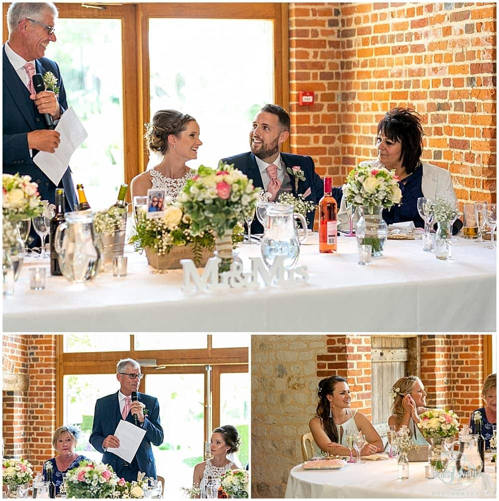 wedding day speeches with the top table at bury court barn